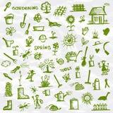 Source. Croquis d'outils de jardin Photos stock