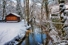 Source du Lison in winter Stock Photo