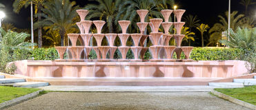 Source of Elche in Spain. Illuminated at night Stock Image