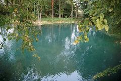 Source of healing water-blue Krynica Stock Photo