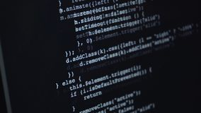 Source html or programming code running over screen. Of laptop or pc stock footage