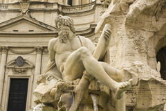 Source of the river, designed by Bernin. Piazza Navona, Rome Stock Photo