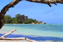 Source Seychelles d'Argent d'Anse de plage Images stock