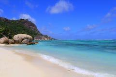 Source Seychelles d'Argent d'Anse de plage Photo stock