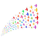 Source Stream of Aircraft. Fountain of aircraft icons. Vector illustration style is flat bright multicolored iconic aircraft symbols on a white background Royalty Free Stock Photography