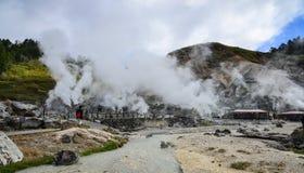 Source thermale de Tamagawa dans Akita, Japon image libre de droits