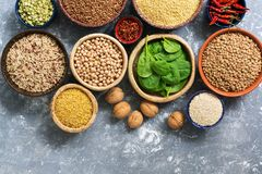A source of vegetarian protein and vitamins , a variety of cereals,beans,herbs,nuts. Chickpeas, rice,buckwheat,bulgur,lentils, pea. S and spinach leaves. Top royalty free stock images