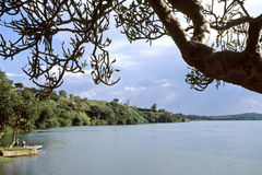 The source of the White Nile River in Uganda. Uganda, Jinja district, the city Jinja is situated on the largest lake in Africa, Lake Victoria and in this place Stock Photo