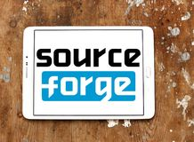 SourceForge website logo. Logo of SourceForge website on samsung tablet. SourceForge is a Web based service that offers software developers a centralized online Stock Photo