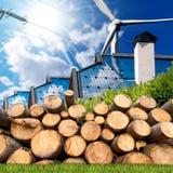 Sources d'énergie renouvelables - biomasse solaire de vent photographie stock libre de droits