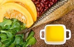 Sources de l'acide gras Omega-3 Photographie stock libre de droits