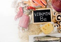Sources de la vitamine B12 Photographie stock libre de droits