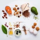 Sources de nourriture de sélection d'Omega 3 Nourriture superbe haute Omega 3 et photos stock