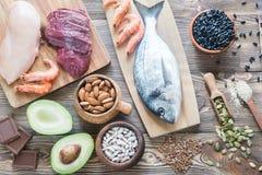 Sources de nourriture de zinc photo stock