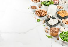 Sources de protéine de Vegan photographie stock
