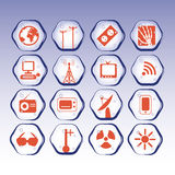 Sources of electromagnetic waves. Icon stock. Sources of electromagnetic waves Royalty Free Stock Images