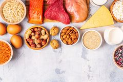 Sources of healthy protein - meat, fish, dairy products. Nuts, legumes, and grains stock photography