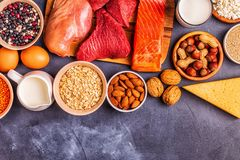 Sources of healthy protein - meat, fish, dairy products. Nuts, legumes, and grains stock image