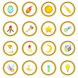 Sources of light icons circle. Gold in cartoon style isolate on white background vector illustration Stock Photos