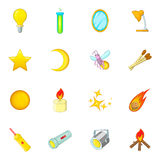 Sources of light icons set, cartoon style. Sources of light icons set. Cartoon illustration of 16 sources of light vector icons for web Stock Image