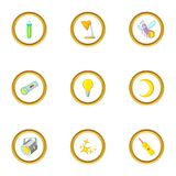 Sources of light icons set, cartoon style. Sources of light icons set. Cartoon style set of 9 sources of light vector icons for web design Stock Images
