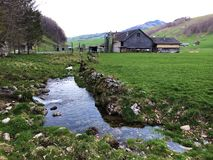 Sources next to the karst spring and waterfall Tschuder under the Ebenalp mountain range and in the Appenzellerland region stock photos