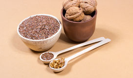 Sources of omega 3 fatty acids: flaxseeds and walnuts Stock Image