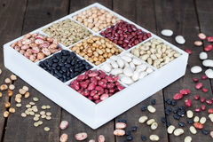 Sources of protein: lentils, beans, kidney beans, chickpeas Royalty Free Stock Photos