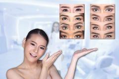 Sourcil ouvert de yeux de vraie différence de service médical de beauté de concept Image stock