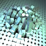 Sourcing. Block of semitransparent elements imitating glass done in cinema 4d Stock Photo