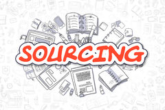 Sourcing - Cartoon Red Text. Business Concept. Sourcing - Sketch Business Illustration. Red Hand Drawn Word Sourcing Surrounded by Stationery. Cartoon Design Stock Photos