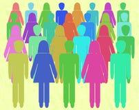 Sourcing della folla - uguaglianza di genere elettrica della gente Fotografia Stock