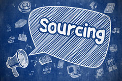 Sourcing - Hand Drawn Illustration on Blue Chalkboard. Speech Bubble with Phrase Sourcing Doodle. Illustration on Blue Chalkboard. Advertising Concept Royalty Free Stock Image