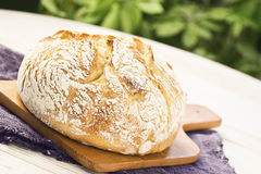 Sourdough Boule or Loaf of Bread on Cutting Board Stock Image
