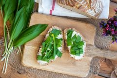 Sourdough bread with butter and wild garlic. Top view Stock Photography
