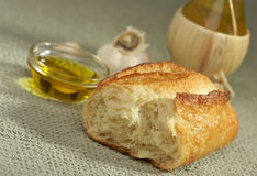 Sourdough Bread and Olive Oil Stock Photos