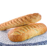 Sourdough bread on white background. Two Loaves of Sour Dough Bread isolated on white background Royalty Free Stock Photos