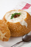 Clam Chowder in Bread Bowl Stock Image