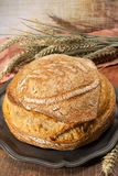 Sourdough homemade round white wheat bread close up. In Italy stock image