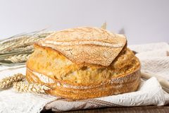Sourdough homemade round white wheat bread close up. In Italy stock photo