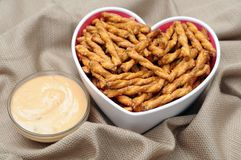 Sourdough nuggets pretzel in heart shape bowl Stock Photo