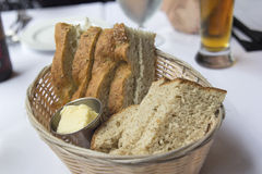Sourdough and Rosemary Herb Bread in Basket Stock Photo