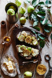 Sourdough Toast with Fresh Pear and Bee Pollen Royalty Free Stock Images