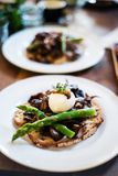 Sourdough Toasted Bread With Mushrooms And Asparagus Royalty Free Stock Photos