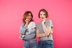 Souriant deux amis de femmes se tenant d'isolement Images stock
