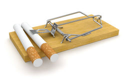 Souricière à clapet et cigarettes (chemin de coupure inclus) Image stock