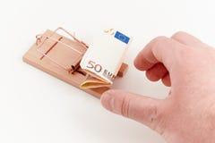 Souricière avec l'euro amorce Photographie stock