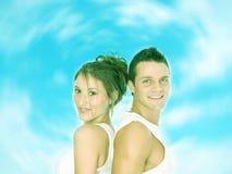 Sourient avec nous, le ciel est bleu Photos libres de droits