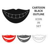 Souriez avec l'icône blanche de dents dans le style de bande dessinée d'isolement sur le fond blanc Illustration de vecteur d'act Image stock