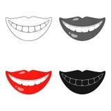 Souriez avec l'icône blanche de dents dans le style de bande dessinée d'isolement sur le fond blanc Illustration de vecteur d'act Images libres de droits